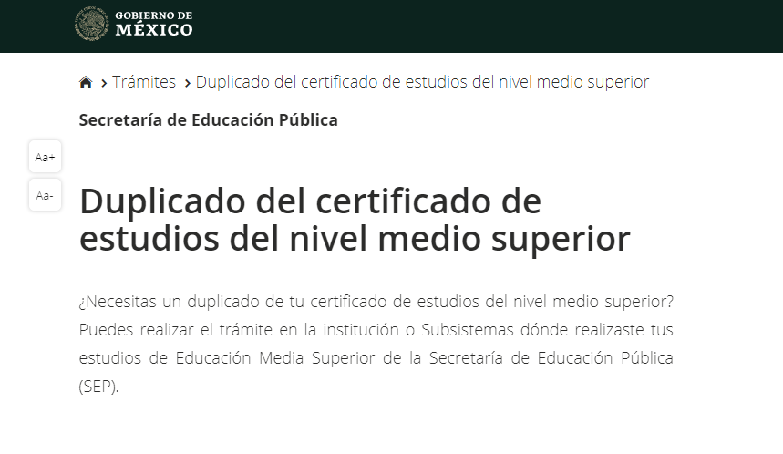 tramitar el certificado sep