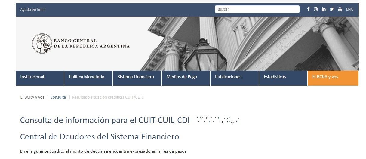 Informe por CUIT en el BCRA